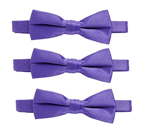 Sportoli174; Kids Baby 3-Pack Adjustable Solid Color Banded Satin Pre-tied Bow Ties - Purple