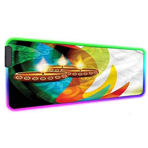 Diwali RGB Soft Gaming Mouse Pad Large,Diwali Festive Candle Oversized Glowing Led Extended Mousepad,31.5'X 11.8',Non-Slip Rubber Base Computer Keyboard Pad Mat