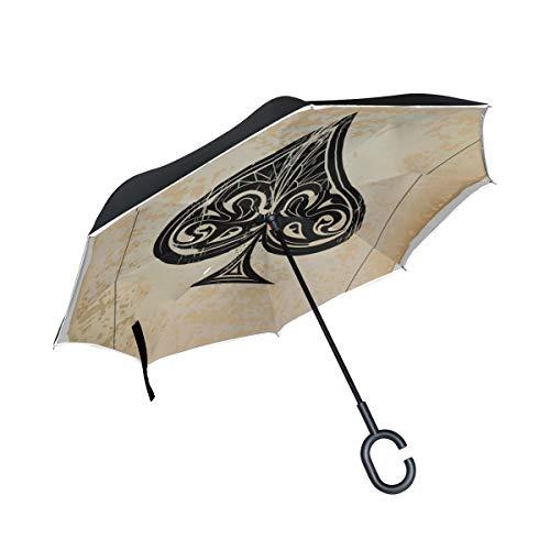 Double Layer Inverted Reverse Umbrella Herren Skelett von Spade Trump In Poker Folding Inverted Umbrella Mens Umbrella Inverted Windproof UV-Schutz für Regen mit C-förmigem Griff