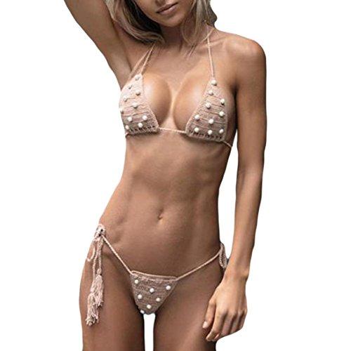 BCDshop Bikinis Set Sexy Swimwear Women Handmade Bandage Pearl Bikini Push Up Beach Bathing Swimsuit (Asian Size:S Cup:30A/30B/32AA/32A/32B) Brown