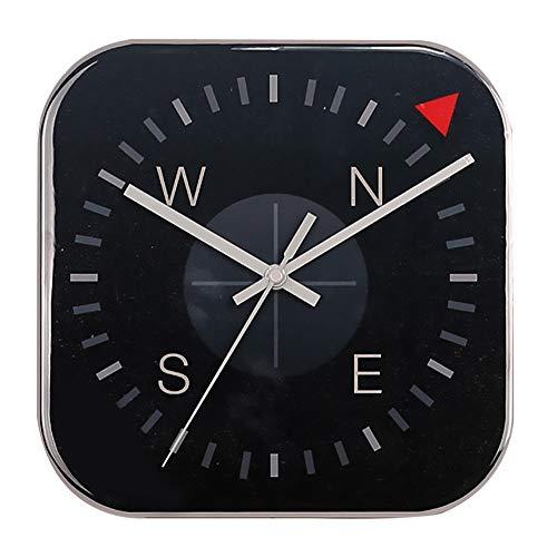 zzz Creativo Brújula Negra Forma Mudo Reloj De Pared Reloj Sala De Estar Dormitorio Comedor Habitación Infantil Moda