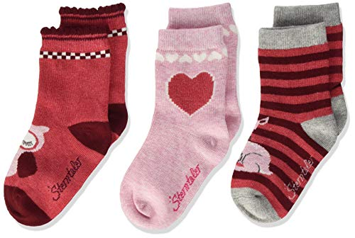 Sterntaler Söckchen 3er-Pack Bambi+Eule calcetines, Baya Rojray Mel, 26 para Bebés
