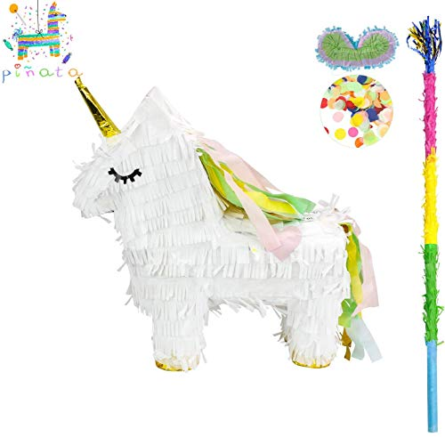 kaimei Unicorn Pinata Small Pinata for Birthday Anniversary Celebration Decoration Theme Party Cinco de Mayo Fiesta Supplies with Stick Multicolor Colorful Pinata