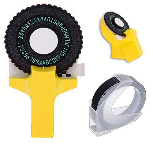Mini stampante per etichette 3D Piccolo modello per etichettatrice Manuale Macchina per scrivere fai-da-te da scrivere con per stampante DYMO Nastro da taglio Nastro nero (giallo)