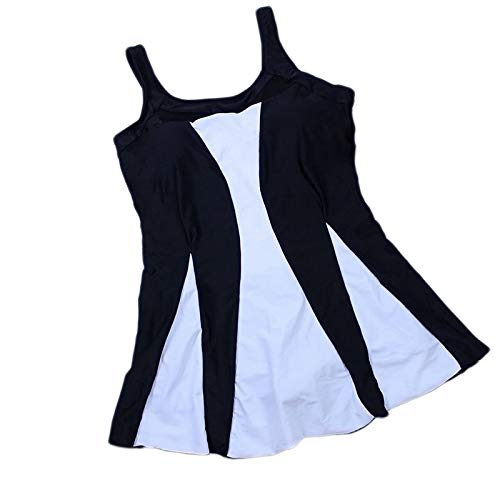Swimsuit Women Swim Skirt Plus Size One Piece Print Swimwear Femme Vintage Large Size Swim Mesh Beach wear-Black-S