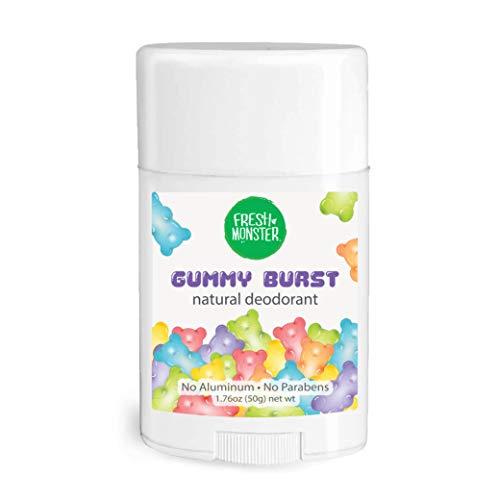 Fresh Monster Natural Deodorant for Kids and Teens | Aluminum Free, Paraben Free, Hypoallergenic | Gummy Burst Scent (1.76oz)