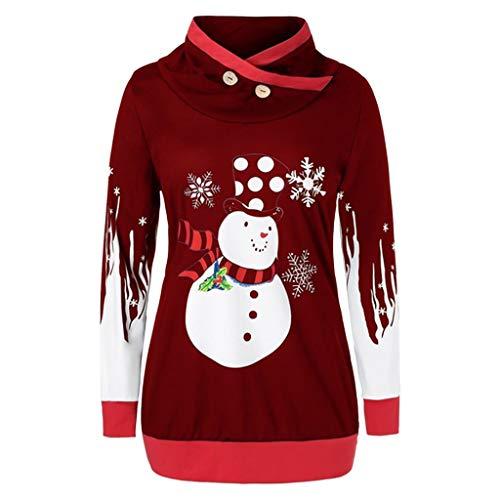 Dasongff dames kerstpullover Kerstman druk knop sexy lange mouwen longtrui met asymmetrische sleufkraag Vrolijk casual lange tops pulloverkleding blouse sweatshirt winterpulli