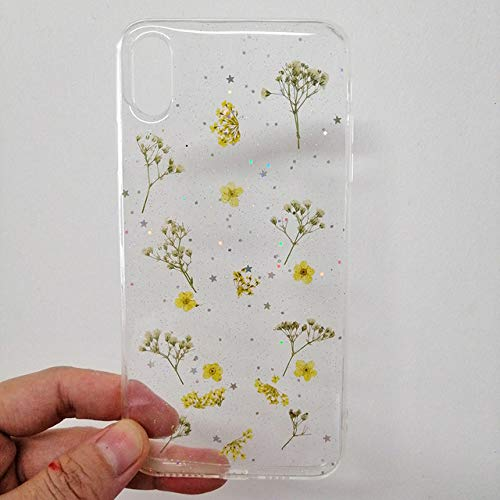 ZFLL Funda para teléfono móvil Funda para Secado Real Flower Handmade Clear Pressed Phone Case para iPhone 6 6S 7 8 Plus X XS MAX XR Funda Soft TPU Contraportada Capa-para iPhone XR-3 Funda