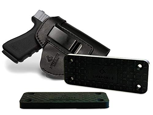 LifeForce Tactical IWB Leather Holster & Gun Magnet Combo for Any Home, Truck, Car, Desk, Safe | Fits M&P Shield 9mm, Glock 17 19 22 23 32 33 36 43, S&W, Springfield XD, Taurus g2c |55lb Magnet Rating