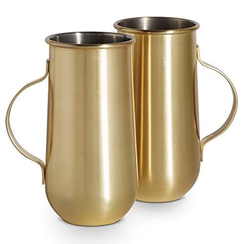 VonShef Goldbecher mit Griff 2 Stück - Ideal für heiße und kalte Getränke: Latte, Cappuccino & Americano oder kalten Kaffee, Cocktails & Bier (Gold)