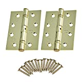Door Hinges 4' 102mm Ball Bearing 1 Pair Pack [2 Hinges & Screws] Polished Brass Finish