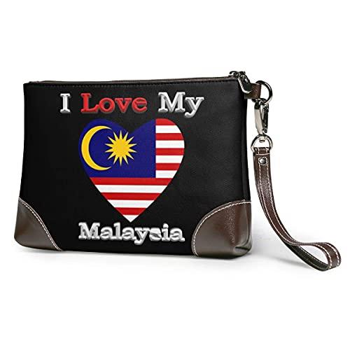 XCNGG Amo mi bandera de Malasia Corazón Hombres y mujeres Embragues de cuero Carteras de piel de vaca real Bolsas de almacenamiento Bolsas de teléfono inteligente