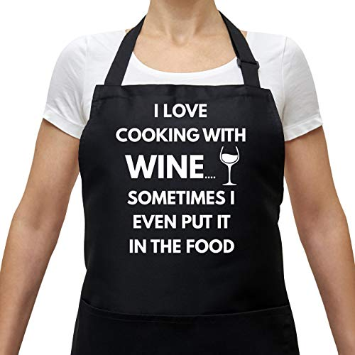 Savvy Designs BBQ Apron Cooking Funny Apron - I Love Cooking with Wine - Adjustable Black Apron with Pockets