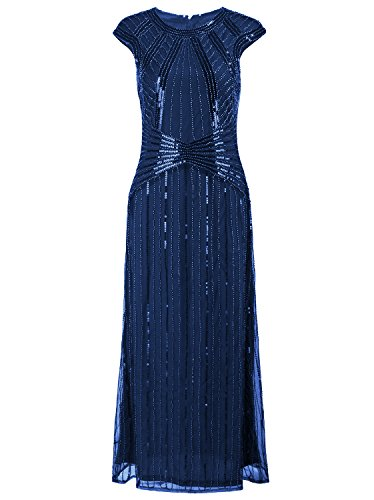VIJIV 1920s Long Prom Dresses Cap Sleeve Beaded Sequin Maxi Evening Party Dress Blue