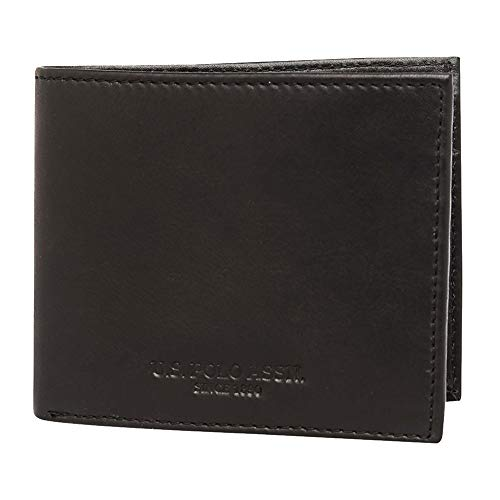 U.S. Polo Assn. Mens Leather 1 Fold Wallet (Black_Free Size)