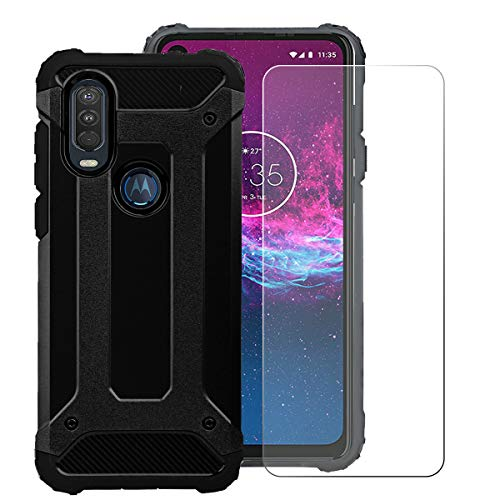 KZIOACSH Tough Armor Case for Motorola One Action,Dual Layer TPU + PC Rugged Cover Case with Tempered Glass Screen Protector for Motorola One Action[ Reinforced Protection]