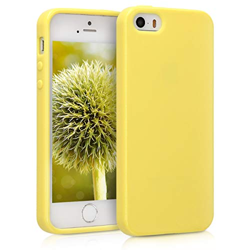kwmobile Funda Compatible con Apple iPhone SE (1.Gen 2016) / 5 / 5S - Carcasa de TPU Silicona - Protector Trasero en Amarillo Pastel Mate