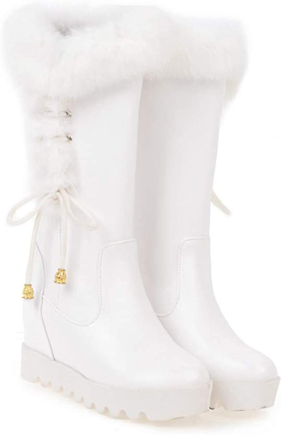 Winter Women Boots Wide Calf, Plush Lined Slip-on Soft Snow Boots,Internal Raised Flat Waterproof Snow Boot EU 35.5-41,White-39CN