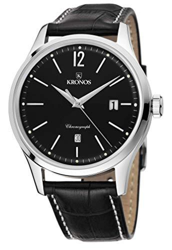 KRONOS - Elegance Automatic Black 787.55 - Reloj de Caballero automático, Correa de Piel Negra, Color Esfera: Negra