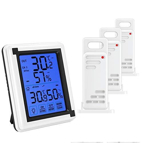 per Casa Termometro Frigorifero Digitale con Allarme Acustico e Registrare Min//Max Ristoranti Criacr Termometro Digitale Interno Esterno con 2 Sensori Wireless