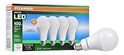 Sylvania Dimmable Led Light Bulb, 16 W, 120 V, 1600 Lumens, CRI 80, 2-5/8 in Dia X 5.15 in L, 4 Piece