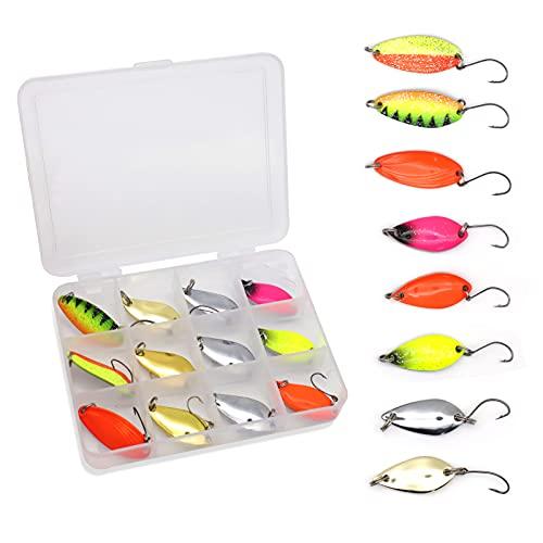 Fishing Set di 10 Spoons per Pesca alla Trota,Set di cucchiai da Pesca per trote con Scatola Set di Esche per trote per Pesca per trote - spoon trout area