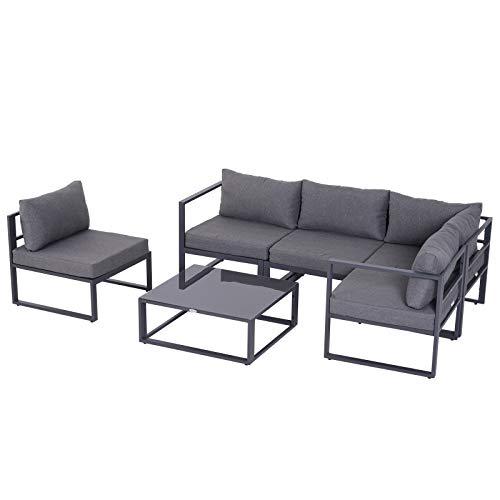 Outsunny 6-TLG. Gartengarnitur Gartenset Gartensofaset Sitzgruppe Gartenmöbel Alu+ Polyester + Hartglas Grau 4 x Sessel 1 x Ecksofa 1 x Beistelltisch...