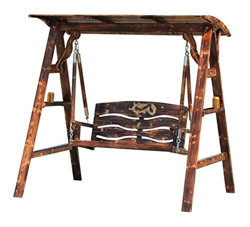 HLZY Al aire libre grande Swing Glider con soporte, Patio Swing Outdoor Wooden Lounge Chair Muebles exteriores Lazy Daze Hamacas Swing Bench Outdoor Porch Garden, Patio Muebles Hamaca Silla