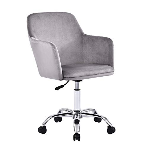 Recmaikon Velvet Home Office Desk Chair Height Adjustable 360°Swivel Chair for Home Comfy Desk Computer Chair for Working Studying Pink/Grey