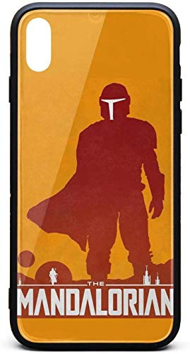 Carcasa para iPhone X The-Mandalorian-Design-Poster- Unisex Delgado Cristal Templado Negro Anti-Arañazos TPU Goma Bumper Cubierta Trasera