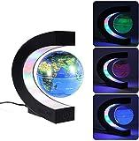 MECO ELEVERDE Globe Terrestre Lumineux Flottant Lévitation Magnétique, Lampe Globe avec Lumières LED et Base en Forme C, Décoration de la Maison et Bureau, Cadeau de Noël, d'Anniversaire-Bleu