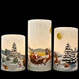 GenSwin Christmas Santa Clause Flameless Candles Flickering Battery Operated with Timer, Real Wax Led Pillar Candles Warm Light, Christmas Snowman Santa Clause and Deer Home Decor Gift(Pack of 3)
