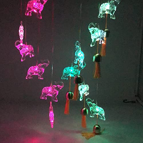 WANQDG Elephant Solar Wind Chimes Light...