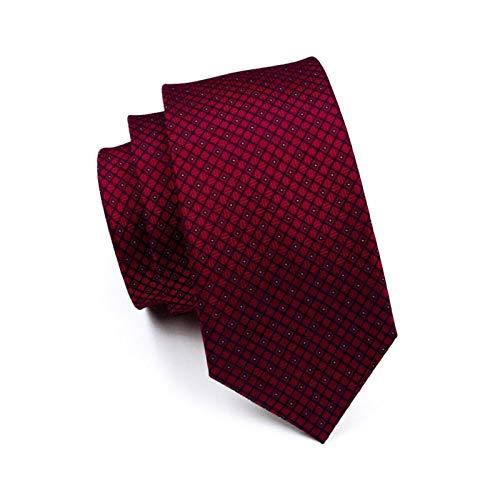 URNOFHW S de los Hombres del Lazo Rojo de la Boda de la Tela Escocesa Corbata de Seda Jacquard Tejida Partido de Negocios 100% del pañuelo Gemelos Conjunto de Corbata for los Hombres