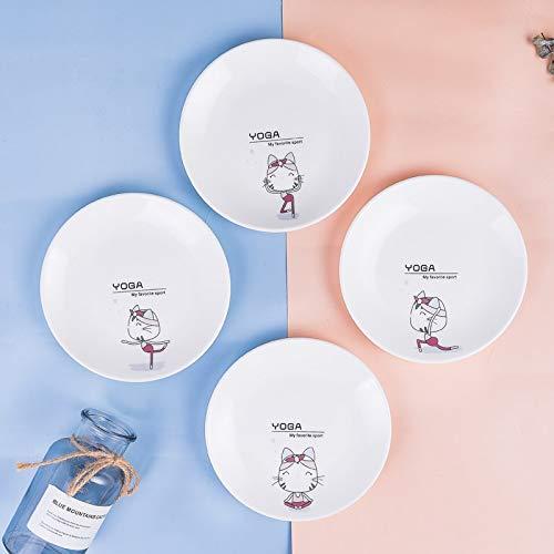 Keramisk tallrik 4 tecknade figurer för barn hem mellanmål tårta tallrik spit bentallrik sallad...