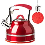 Secura Whistling Tea Kettle, 2.3 Qt Tea Pot, Stainless Steel Hot Water Kettle for Stovetops with...