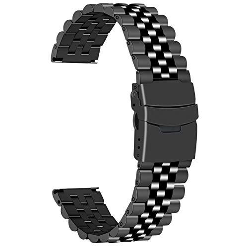 Juntan Correa de reloj de metal negro de acero inoxidable de 24mm Pulsera de reloj 3D para hombres mujeres Ver banda de repuesto Cierre de metal plegable