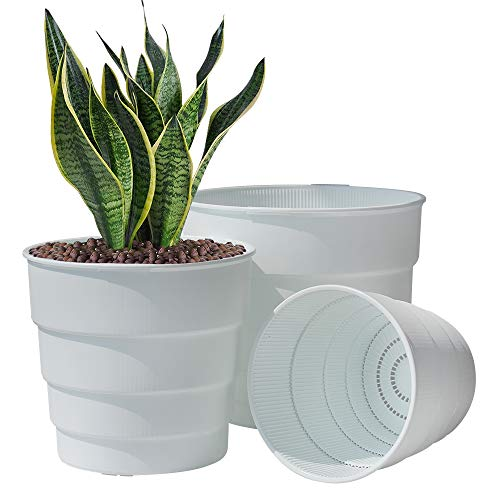 Meshpot 17cm Plastic Planter Pot with Drainage Holes and Saucer,Flower Pot Container for Aloe,Herbs African Violets Orchids Succulents Cactus Indoor Outdoor Home Decor, Set of 2
