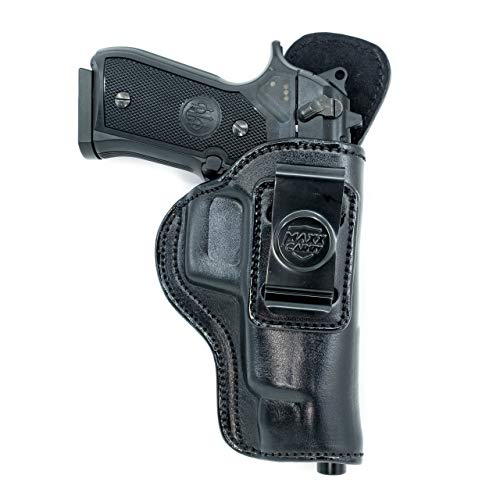 Cardini Leather USA Inside The Waistband Leather Holster for Beretta 92FS Series. IWB Holster with Clip Conceal Carry. Black Right Hand.