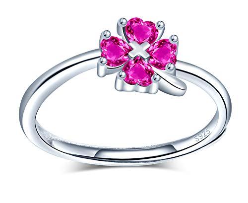 MicVivien Anillo de trébol de la suerte para mujer, anillo de plata de ley 925, trébol irlandés de cuatro hojas, trébol de circonita, anillo ajustable para mujeres y niñas