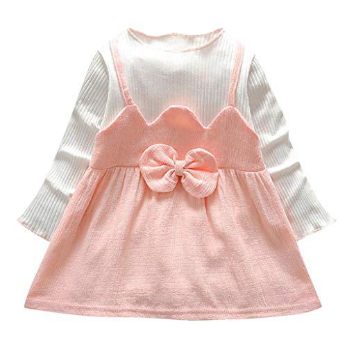 Deloito--Baby Clothes Robe Fille Mode Vetement Bebe Robe de soirée Princesse Manche Longue Pull Fille Printemps Enfant Mignonne Arc Robes Bebe (0-6 M, Rose 1)