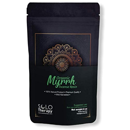 SoloTherapy Organic Myrrh Incense Resin | 100% Natural | Premium Quality | Wild Harvested | 8 oz | Resina De Mirra | Product from Perú (8 oz)