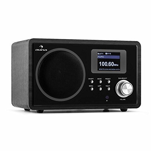 auna IR-150 Internetradio Retro Digitalradio WLAN-Radio (UKW-Radio mit 20 Senderspeichern, AUX, Equalizer-Funktion, Wecker, Sleep-Timer, Wetteranzeige, Börseninformationen) schwarz