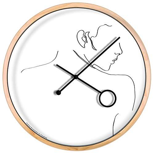 Cloudnola The Flirt klok – Wandecoratie – Lijn kunst – Moderne Designer wandklok- Hout, 42 cm diameter, geruisloos uurwerk, werkt op batterijen