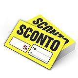 CARTELLINO in CARTONCINO SCONTO Percentuale PREZZO 100 PEZZI - ideali per saldi e promozioni
