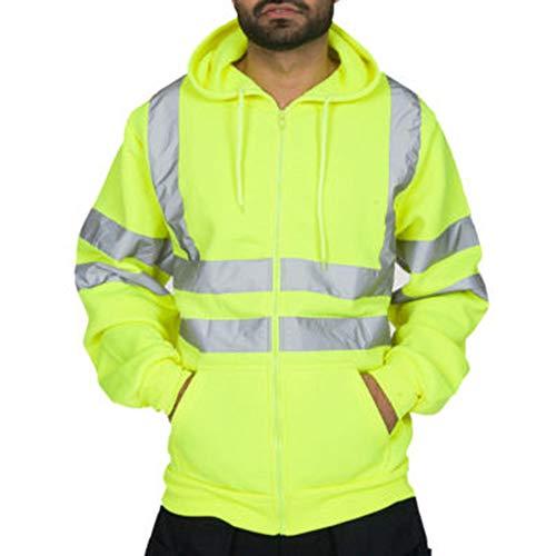 Loozykit Herren Hoodie Kapuzenpullover Reflektierend Jacke Warnschutzjacke High Visibility Zip Up Pullover Arbeitssicherheit Sweatshirt Tops Bluse Road Arbeit Work Jacke