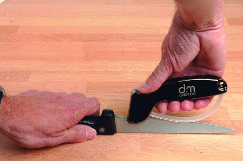DM CREATION 00009 Aiguiseur à Couteaux Noir 14 x 2 cm