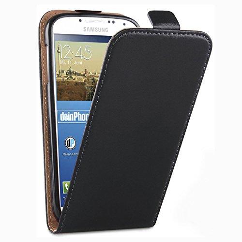deinPhone Samsung Galaxy S4 beschichtetes Leder Flip Case Hülle Tasche Schwarz