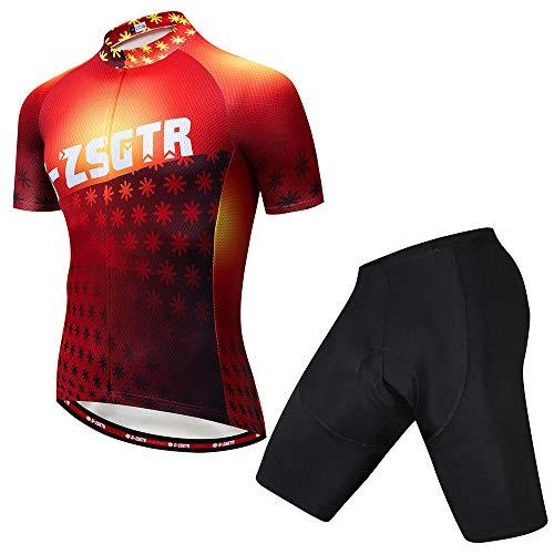 HXTSWGS Traje Equipacion Ciclismo Hombre,Maillot de Ciclismo, Maillot de Ciclismo de Manga Corta para Hombre, Uniforme de Equipo de Ciclismo Summer Mountain Bike-C_XXL