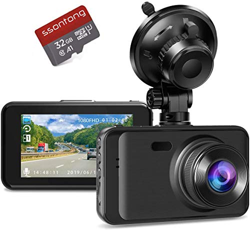 """Dash Camera with SD Card Included, Dashcams for Cars Front Full HD 1080P Dash Cams 170°Wide Angle Dashboard Cameras for Trucks with Night Vision 3""""IPS Screen Loop Recording G-Sensor Parking Monitor"""
